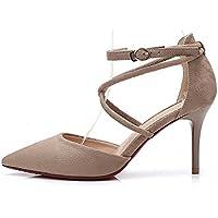 Nuevas Sandalias Baotou Sandalias Primavera y Verano Zapatos Huecos Consejo Boca Superficial con Hebilla de Gamuza de tacón Alto XIAOQI