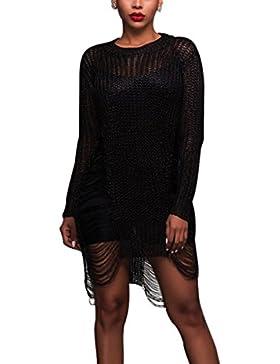 Mujeres Vestidos Crochet Hueco Bikini Playa Vestido Pareos Cover Up Traje de Baño Túnica Tops Vestido De Suéter