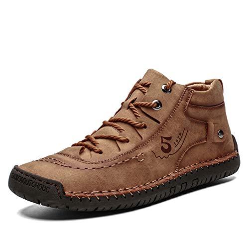 Gracosy Zapatos de Cuero para Hombre Primavera High Top Planos Botines Casual Mocasines Zapatillas Artificial...
