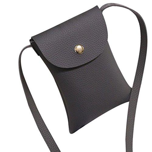 Koly_Mini piccolo guscio in pelle Borse Messenger Crossbody spalla del sacchetto delle donne (Grigio)