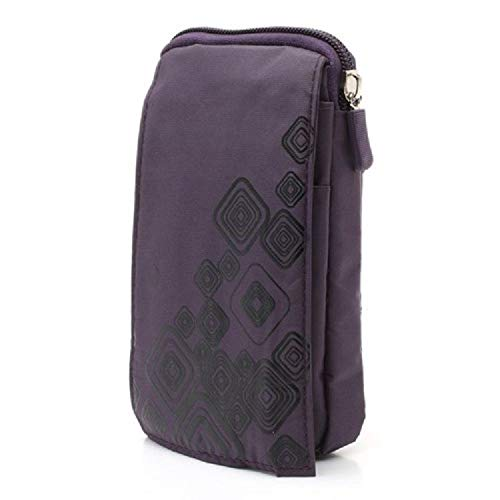 DFV mobile - Multi-Functional Vertical Stripes Pouch Bag Case Zipper Closing Carabiner for => Samsung Galaxy Eclipse 2 (Samsung J337) (2018) > Purple (16 x 9.5 cm) Eclipse 16 Pin