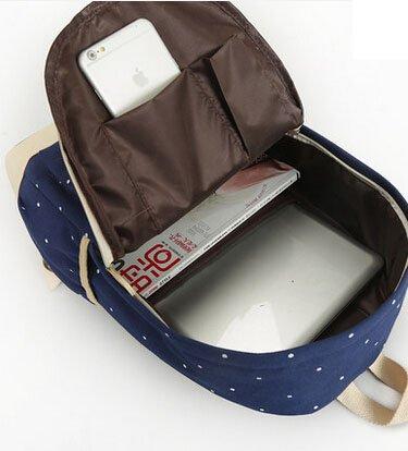 Mode Punkt-Muster-Segeltuch-Rucksack Teenager Schultasche 14,6 Zoll Laptop-Rucksack + Messenger Bag + Purse (Dunkelblau) - 3