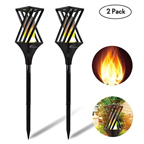 Moobom-Solargarten-Fackel beleuchtet 96 LED IP65 imprägniern tanzende flackernde Flammen-Beleuchtungs-Landschaftslampe für Garten-Bahnen-Patio-Yard Lawn Driveway (2pcs-schwarz)