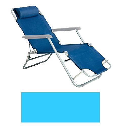 Gardenia Chaise Longue/Chaise Extensible et Pliable en Aluminium textilène Couleur Bleu Clair