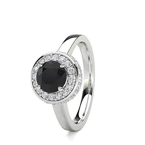 n 2,00Karat Diamant Rund Schwarz Designer Halo Ring in Platin (Black Diamond Halo-ring)