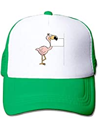CHKWYN Flamingo With Paper Trucker Hat Unisex Adult Baseball Mesh Cap Black