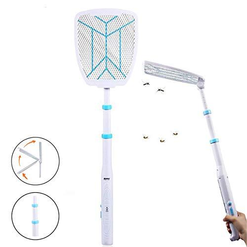 LFNIU Elektrische Fliegenklatsche, Moskito-Killer Faltbarer und ausziehbarer Moskito-Schläger 2500 Volt Schädlingsbekämpfung Perfekt für Innen und Außen, Weiß, 1P -