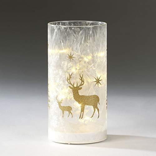 Inge LED Zylinder Windlicht Hirsch Gold weiß gefrostet Beleuchtung Weihnachtsdeko Weihnachten modern ausgefallen Weihnachtsbeleuchtung innen