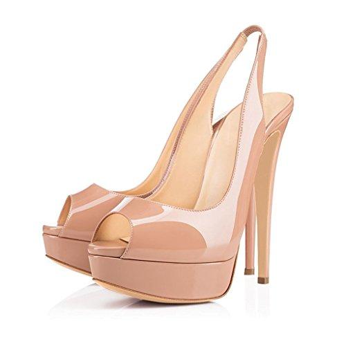 EDEFS Damen High Heels Slingback Sandalen Stiletto Heel Peep Toe Party Plateau Schuhe Beige