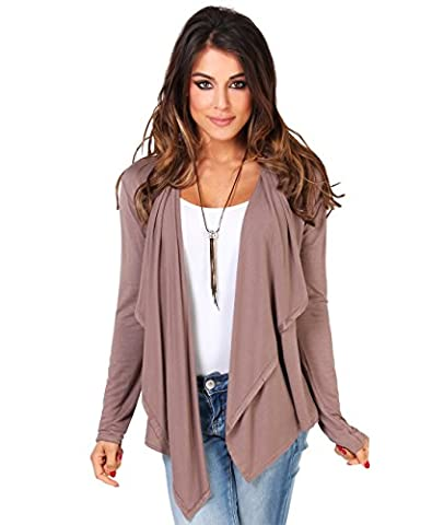 6056-MOC-16: Asymmetric Waterfall Open Plain Jersey Cardigan Long Top Cover Up Shrug