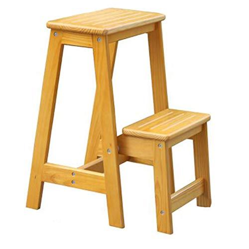 DOPORA Zweistufiger Holzstufenhocker, Leitersessel mit klappbarem und multifunktionalem dekorativem Stufenhocker, perfekte Höhe für eine Arbeitsplatte,Yellow