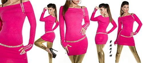 pullover lungo / mini abito koucla donna scollo carmen con strass&zip 10 colori tg unica(cintura esclusa) Fuxia