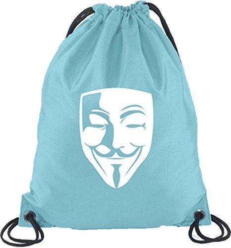 Shirtstreet24, ANONYMOUS MASKE, Guy Fawkes Vendetta Turnbeutel Rucksack Sport Beutel Hellblau