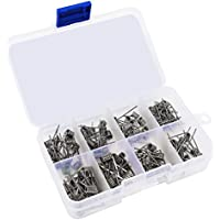 Qliver 96 Stück Fertigcoil Widerstandsdraht Coil Set - 8-in-1 Vorkompilierte Coil Kit mit 0.3Ω / 0.35Ω/ 0.45Ω / 0.5Ω / 0.8Ω für RDA, RBA, RDTA, 96 Pcs, Fused Clapton Coil, Twisted, Hive, Quad, Tiger