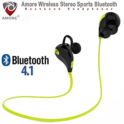 Amore Bluetooth 4.1 Wireless Stereo Sport Headphones Headset with Built In Mic Running Hiking Exercise Hi-Fi Sound Hands-Free Calling Compatible with Samsung Galaxy, Note, Edge, Gionee, Intex, Karbonn, Lenovo, Iphone, Nokia, Nexus, Oppo, Vivo, Coolpad, One Plus, Moto, Sony and All Android Mobiles Bluetooth Headset with Volume Control Button Assorted Colors