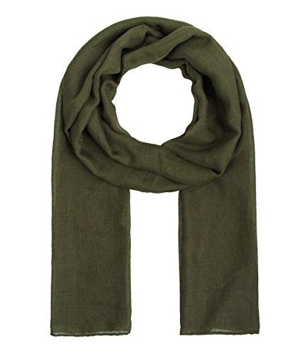 Majea Tuch Lima schmal geschnittenes Damen-Halstuch leicht uni einfarbig dünn unifarben Schal weich Sommerschal Übergangsschal (dark olive) (Für Schals Frauen)