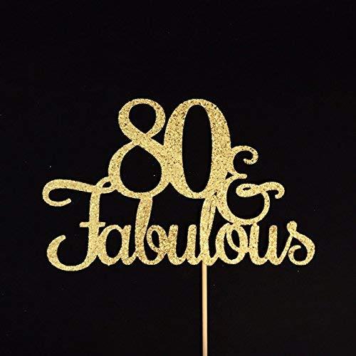 80 und fabelhafte Tortenaufsatz, Glitzer, für Geburtstagskuchen, 80. Geburtstag, Geburtstagsparty, Happy 80th, Aighty Birthday und Fabulous Cake Topper, 80 Cake Topper, 80. Geburtstag Dekoration