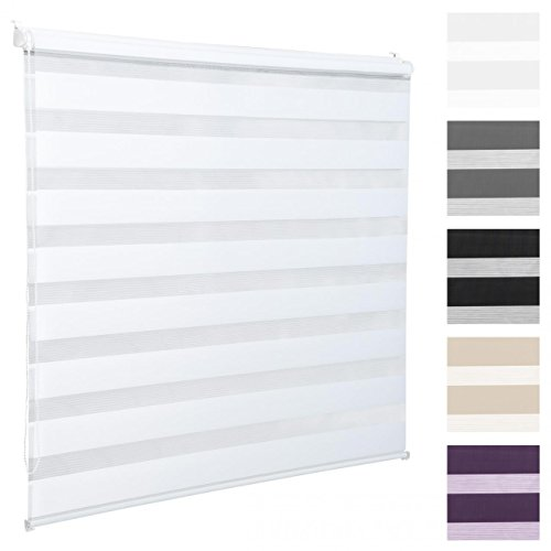 Homelux Doppelrollo Duo-Fensterrollo Klemmträger Kettenzug Seitenzug 50 x 100 cm Weiss