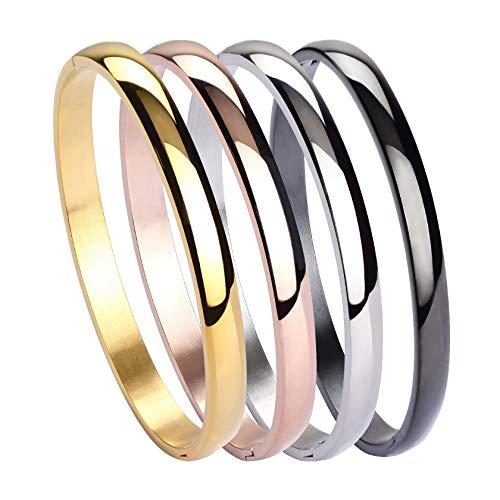 MILAKOO Damen 4er Set Silber/Gold/Roségold Edelstahl Armband Armreif Set 6mm