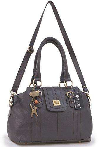 Lederhandtasche mit Klemmverschluss Kate von Catwalk Collection - Schwarz - Größe: B: 36,5 H: 24,5 T: 16 cm Braun