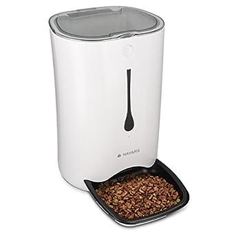 Navaris Distributeur Automatique de Nourriture - Gamelle Réservoir Aliments 6 L - Programmable jusqu'à 4 Repas par Jour - pour Chien et Chat