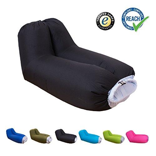 Sofà gonfiabile adagiantesi gonfiabile di eguenuss® con lo schienale incorporato / cuscino letto gonfiabile gonfiabile del letto d'aria gonfiabile con la borsa di viaggio nero