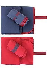 NORDKAMM - Mikrofaser Handtuch Set mit Oeko TEX 100 ® Zertifikat, Ultraleicht, Microfaser Handtuch Reise 2er-Set: klein 50x100, groß 70x150, blau oder rot (Blau)