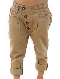 Etosell Pantalons en Coton Kaki Solide Décontracté pour Enfant Garçon 2-7 ans