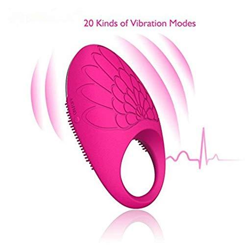 ST love Anneau Penien Vibrant | Masseur Electrique | 20 Mode Vibration | Rechargeable + Imperméable | Mini Vibromasseur - Vibromasseur pour Homme ou Couple (Rouge)