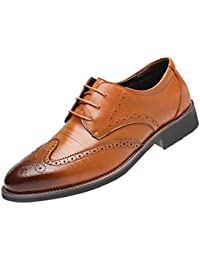Fashion Men's Warm Winter Waterproof Leather Business Lace-up Antiskid Oxfords Pointed Hollow Shoes Jogging Modern Outdoors Classical Casual Shoes Comfy Footwear Athletic Walking
