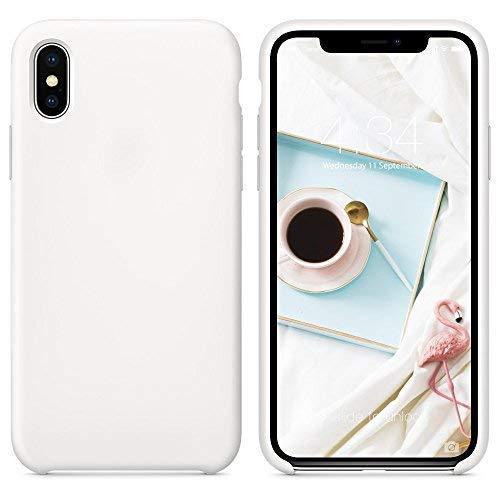 SURPHY iPhone X Silikon Hülle, Dünne HandyHülle Stoßfest Slim Gummi Schutzhülle Premium Kratzfest Case Cover mit Soft Microfaser Tuch Futter Kissen Handy Hülle für Apple iPhone X, Weiße
