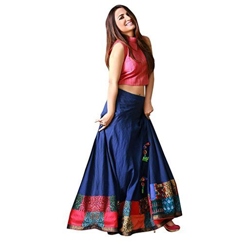Shopyourstyle Women's Cotton Silk Dress Material (Code 1180 4_Pink and Blue_Free Size)
