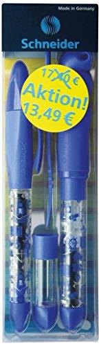 Schneider Set Base Kid und Base Ball (Füller und Patronenroller, Anfängerset für die 1. Klasse, Made in Germany, Motiv: Pirat) blau-transparent