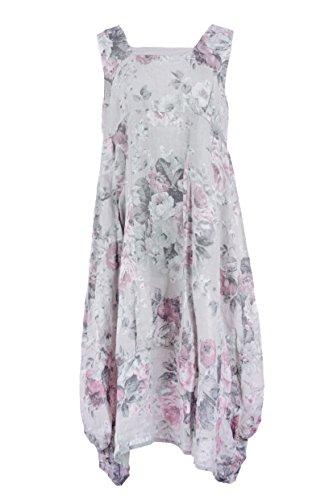 Ladies Womens Lagenlook Floral Sleeveless Square Neck Linen Long Midi Dress One Size (Light Grey, One Size) (Silk Sleeveless Floral Kleid)