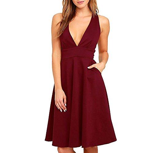 NALATI Vestito oscillante da partito del cocktail del V-Collo Deep Vestito caldo delle donne Vino Rosso