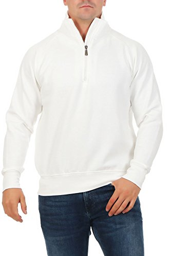 Happy Clothing Herren Pullover halber Reißverschluss ohne Kapuze , Größe:M, Farbe:Weiß