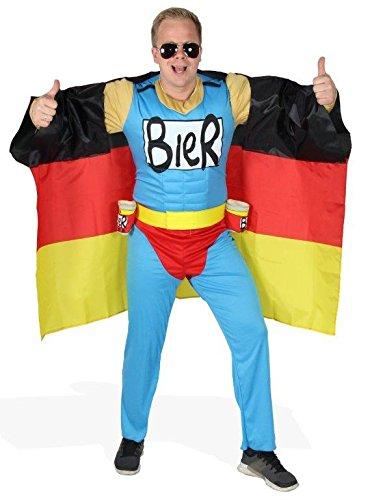 Das Deutschland Fussball Fan Kostüm - Biermann Comic Helden Kostüm für richtige Fans - Größe S-XXL - WM 2022 EM 2020 Fanartikel Party Flagge Germany Größe S
