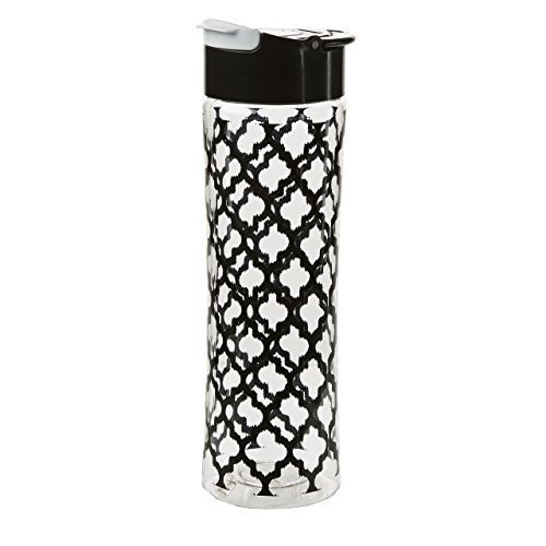 fit-fresh-pattern-chill-containers-tritan-water-bottle-20-oz-black-and-white-by-fit-fresh