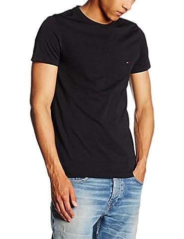 Tommy Hilfiger Herren T-Shirt NEW STRETCH C - NK TEE S/S SF, Gr. Medium, Schwarz (FLAG BLACK 083)