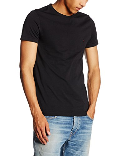 Tommy hilfiger core stretch slim cneck tee, t-shirt uomo, nero (flag black 083), large