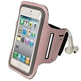 igadgitz Neopren-Sportarmband für Apple iPhone SE, 5S, 5, 5C, rosa, reflektierend, rutschfest, für Fitness-Studio, Joggen