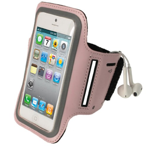 iGadgitz Neopren-Sportarmband für Apple iPhone SE, 5S, 5, 5C, rosa, reflektierend, rutschfest, für Fitness-Studio, Joggen (Rosa Iphone 5s Armband)