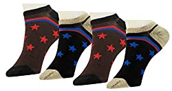 Neska Moda Premium Unisex Cotton Black,Brown 4 Pair Loafer Socks