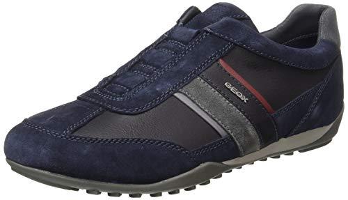 Geox Herren U Wells A Sneaker, Navy/Dk Burgundy, 45 EU