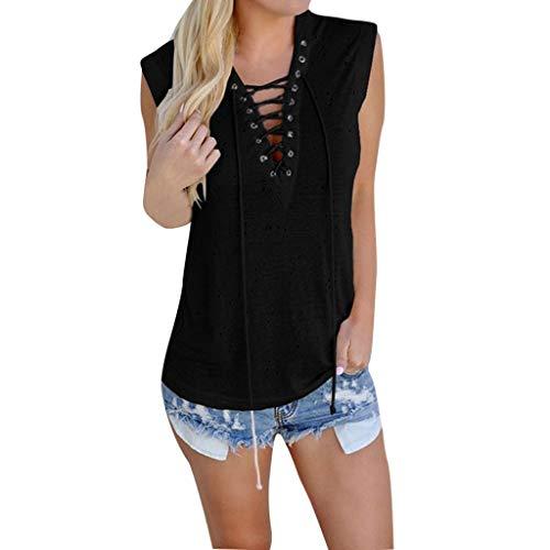 Bfmyxgs Damenmode Sommer Mädchen V-Ausschnitt Lace Up ärmelloses Tanktop T-Shirt Wear A Tie