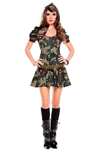 Kostüm Soldat Spielzeug Sexy Weihnachten - AniKigu Damen Armee Soldatin Kostüm Camouflage Cosplay Kostüm für Halloween Karneval Fasching mit Mütze