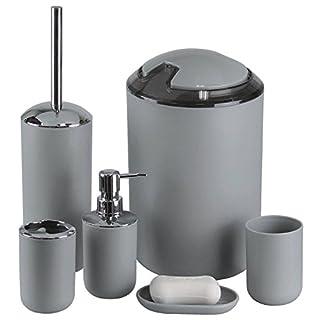 GMMH 6pièces de salle de bain salle de bains Accessoires Set Distributeur de Savon Porte Brosse WC Garnitur Grau Design 3