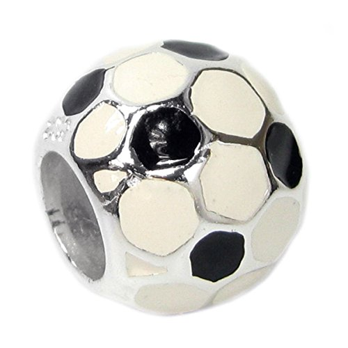 Sterling Charme Silber Softball (Queenberry Sterling Silber Fußball Soccer Emaille im europäischen Stil Perle Charme)