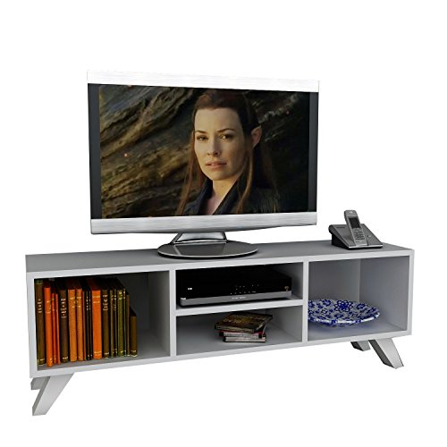 Wohnwand Lowboard Anbauwand Wohnwandkombi TV Medienwand YAREN in Weiß 1728