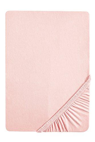 biberna 77155 Jersey-Stretch Spannbetttuch, nach Öko-Tex Standard 100, ca. 90 x 190 cm bis 100 x 200 cm, rose